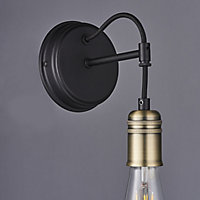 Hixley Matt Black Antique brass effect Wall light