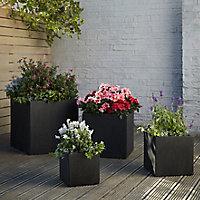 Hoa Dark grey Concrete effect Fibreclay Square Plant pot (Dia)40cm