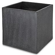 Hoa Dark grey Concrete effect Fibreclay Square Plant pot (Dia)50cm