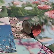 Holden Décor April Blue & pink Floral Wallpaper