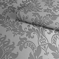 Holden Décor Clara Charcoal Damask Glitter effect Smooth Wallpaper