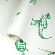 Holden Décor Green & white Dinosaur Smooth Wallpaper
