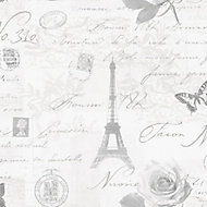 Holden Décor Grey Paris Smooth Wallpaper