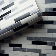 Holden Décor Grey & white Tile Metallic effect Blown Wallpaper