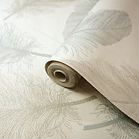 Holden Décor K2 Cream & teal Feather Textured Wallpaper