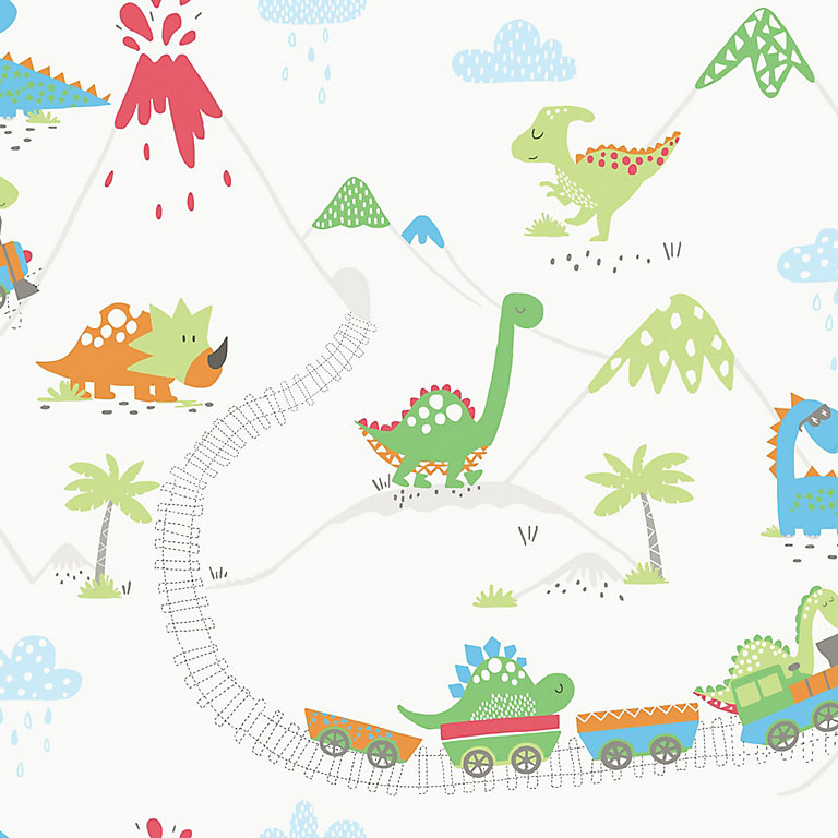 Holden Décor Multicolour Dinosaur Smooth Wallpaper Diy At B Q