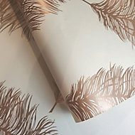 Holden Décor Statement Cream Feather Metallic effect Smooth Wallpaper
