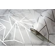 Holden Décor Statement Jantis Grey Geometric Metallic effect Smooth Wallpaper