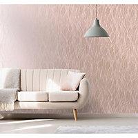 Holden Décor Statement Mora Pink Leaf Metallic effect Smooth Wallpaper