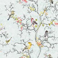 Holden Décor Statement Ornithology Blue Birds Smooth Wallpaper