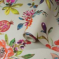 Holden Décor Statement Pomegranate Multicolour Floral Metallic effect Smooth Wallpaper
