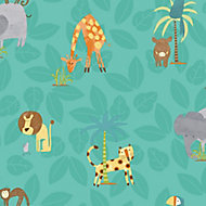 Holden Décor Teal Jungle animals Smooth Wallpaper