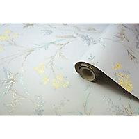 Holden Hailey Blue & grey Floral birds Glitter effect Wallpaper