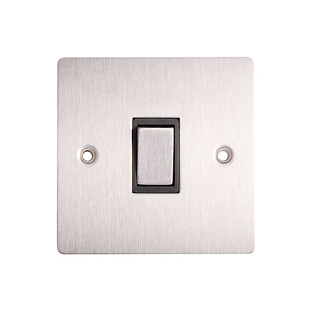 Holder 10a 2 Way Brushed Stainless Steel Effect Single Light Switch Diy At B Q