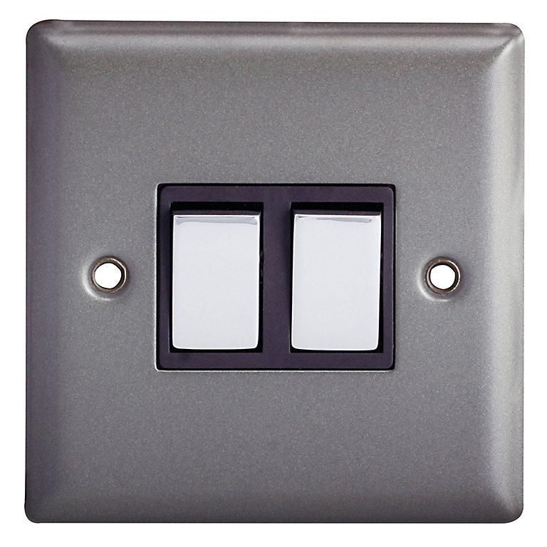 Holder 10a 2 Way Matt Grey Pewter Effect Double Light Switch Diy At B Q