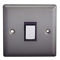 Holder 10A 2 way Matt grey pewter effect Single Light Switch