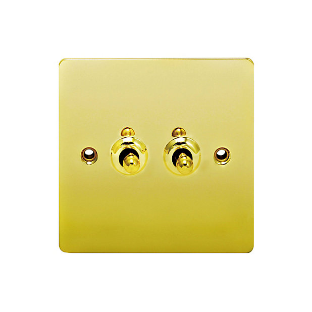 Holder 10a 2 Way Polished Brass Effect Double Toggle Switch Diy At B Q