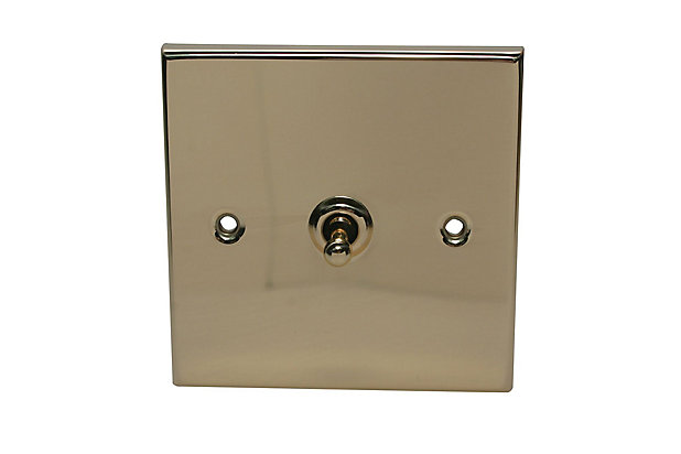 Holder 10a 2 Way Polished Brass Effect Single Toggle Switch Diy At B Q