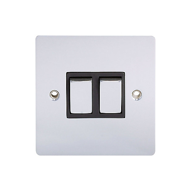 Holder 10a 2 Way Polished Chrome Effect Double Light Switch Diy At B Q
