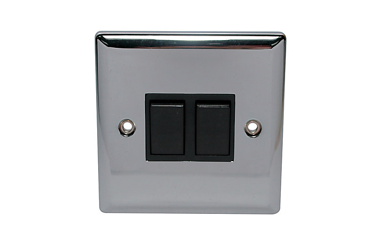 Holder 10a 2 Way Polished Chrome Effect Double Toggle Switch Diy At B Q