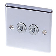 Holder 10A 2 way Polished chrome effect Single Toggle Switch