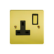 Holder 13A Brass effect Single Switched Socket