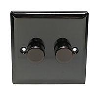 Holder 2 way Double Black Iridium effect Dimmer switch