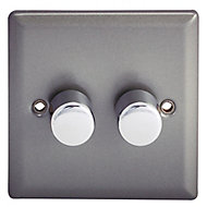 Holder 2 way Double Pewter effect Dimmer switch