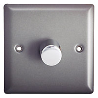Holder 2 way Single Pewter effect Dimmer switch