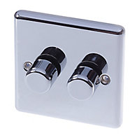 Holder Chrome effect Double 2 way Dimmer switch
