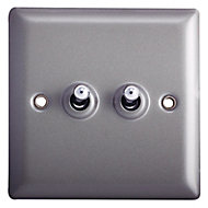 Holder Grey pewter effect Single 10A 2 way Light Switch