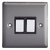 Holder Matt grey pewter effect Double 10A 2 way Light Switch