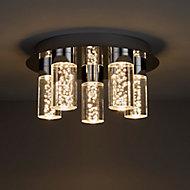 Hubble Brushed Chrome effect 5 Lamp Bathroom Ceiling light