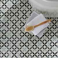 Hydrolic Black & white Matt Circle Porcelain Floor tile, Pack of 25, (L)200mm (W)200mm