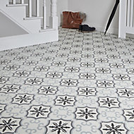 Hydrolic Black & white Matt Flower Porcelain Floor tile, Pack of 25, (L)200mm (W)200mm