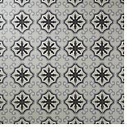 Hydrolic Black & white Matt Flower Porcelain Wall & floor Tile, Pack of 25, (L)200mm (W)200mm