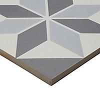 Hydrolic Black & white Matt Star Porcelain Floor tile, Pack of 25, (L)200mm (W)200mm
