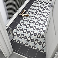 Hydrolic Black & white Matt Star Porcelain Floor tile, Pack of 25, (L)200mm (W)200mm