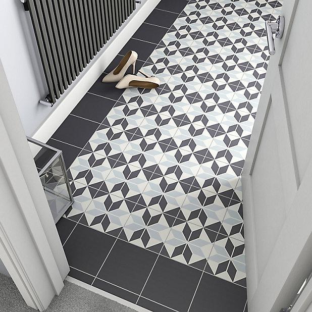 hydrolic black white matt star porcelain floor tile pack of 25 l 200mm w 200mm