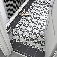 Hydrolic Black & white Matt Star Porcelain Wall & floor Tile, Pack of 25, (L)200mm (W)200mm