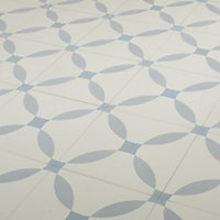 Hydrolic Blue Matt Calisson Porcelain Floor tile, Pack of 25, (L)200mm (W)200mm