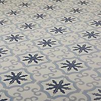 Hydrolic Blue Matt Flower Concrete effect Porcelain Wall & floor Tile, Pack of 25, (L)200mm (W)200mm