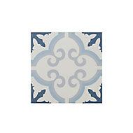 Hydrolic Blue Matt Flower Concrete effect Square Porcelain Wall & floor Tile Sample