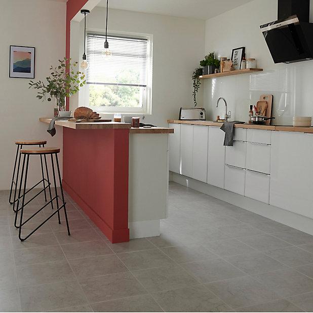 Ideal Grey Matt Marble Effect Ceramic Floor Tile Pack Of 13 L 338mm W 338mm Diy At B Q
