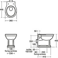Ideal Standard Waverley Traditional Back to wall Boxed rim Toilet set with Standard close seat