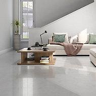Ideal White Matt Marble effect Ceramic Wall & floor Tile, Pack of 13, (L)338mm (W)338mm