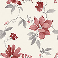 Ideco Home Magnolia Cream & red Floral Smooth Wallpaper