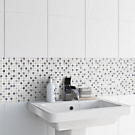 Ikarai Light grey Marble effect Natural stone Mosaic tile sheet, (L)300mm (W)300mm