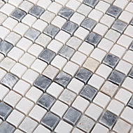 Ikarai Light grey Marble effect Natural structure Natural stone Mosaic tile sheets, (L)300mm (W)300mm