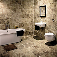 Illusion Brown Gloss Patterned Marble effect Ceramic Floor tile, Pack of 10, (L)360mm (W)275mm